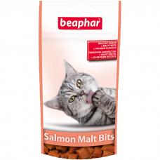 BEAPHAR 12621 SALMON MALT BITS подушечки для выведения шерсти из желудка у кошек 35г