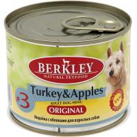 Консервы для взрослых собак BERKLEY ADULT №3 беззерновые Индейка с Яблоками 200г