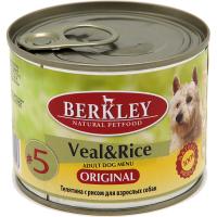 Консервы для взрослых собак BERKLEY ADULT №5 Телятина с Рисом 200г