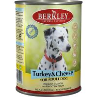 Консервы для взрослых собак BERKLEY ADULT беззерновые с индейкой и сыром 400г