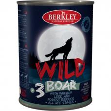 Консервы для собак всех возрастов BERKLEY №3 Дикий кабан с пастернаком, сладким луком и лесными ягодами 400г