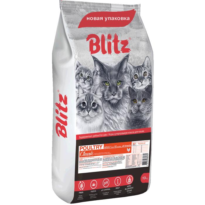 Фото - BLITZ Adult Cat Poultry с домашней птицей для взрослых кошек 10кг