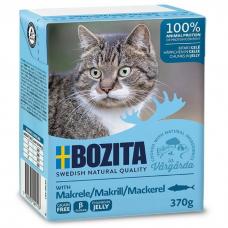 Влажный корм для кошек всех возрастов BOZITA MACKEREL беззерновой со скумбрией в желе 370г