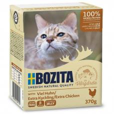 Влажный корм для кошек всех возрастов BOZITA EXTRA CHICKEN беззерновой с рубленой курицей в желе 370г