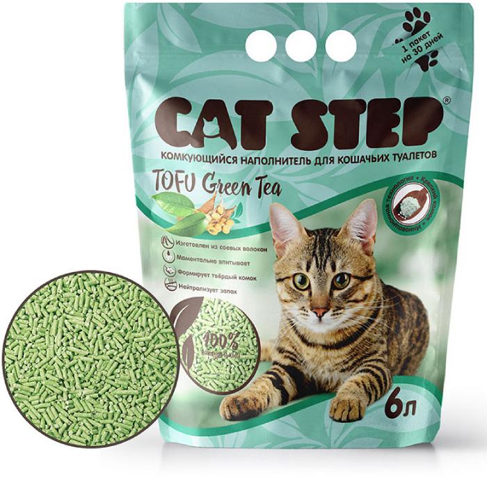 Фото - CAT STEP TOFU ЗЕЛЕНЫЙ ЧАЙ растительный комкующийся наполнитель ароматизированный