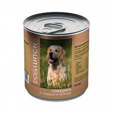 DOG LUNCH ГОВЯДИНА С СЕРДЦЕМ И ПЕЧЕНЬЮ В ЖЕЛЕ консервы для собак
