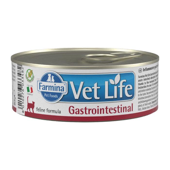 Фото - FARMINA VET LIFE GASTROINTESTINAL для лечения заболеваний ЖКТ у кошек консервы 80г
