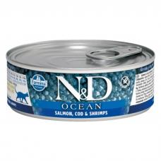 FARMINA N&D CAT OCEAN беззерновые c лососем, треской и креветками консервы для кошек 80г