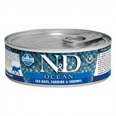 FARMINA N&D CAT OCEAN беззерновые с сибасом, сардинами и креветками консервы для кошек 80г