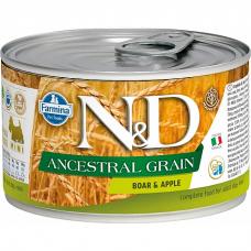 Консервы для взрослых собак мелких пород FARMINA N&D DOG ANCESTRAL GRAIN низкозерновые c кабаном и яблоком 140г