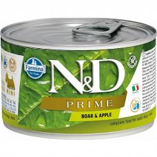Консервы для взрослых собак мелких пород FARMINA N&D DOG PRIME беззерновые с кабаном и яблоком 140г