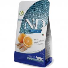 Сухой корм для взрослых кошек FARMINA N&D OCEAN беззерновой с сельдью и апельсином 44/20