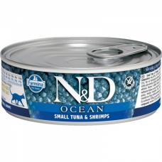 Консервы для взрослых кошек FARMINA N&D CAT OCEAN беззерновые с тунцом и креветками 80г