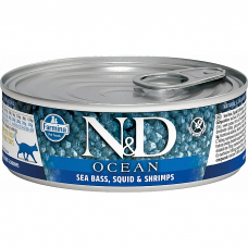 Консервы для взрослых кошек FARMINA N&D CAT OCEAN беззерновые с сибасом, кальмарами и креветками 80г