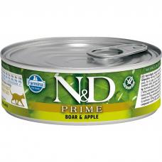 Консервы для взрослых кошек FARMINA N&D CAT PRIME беззерновые с кабаном и яблоком 80г