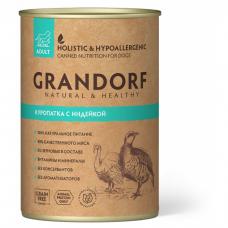Консервы для взрослых собак GRANDORF КУРОПАТКА С ИНДЕЙКОЙ беззерновые 400г