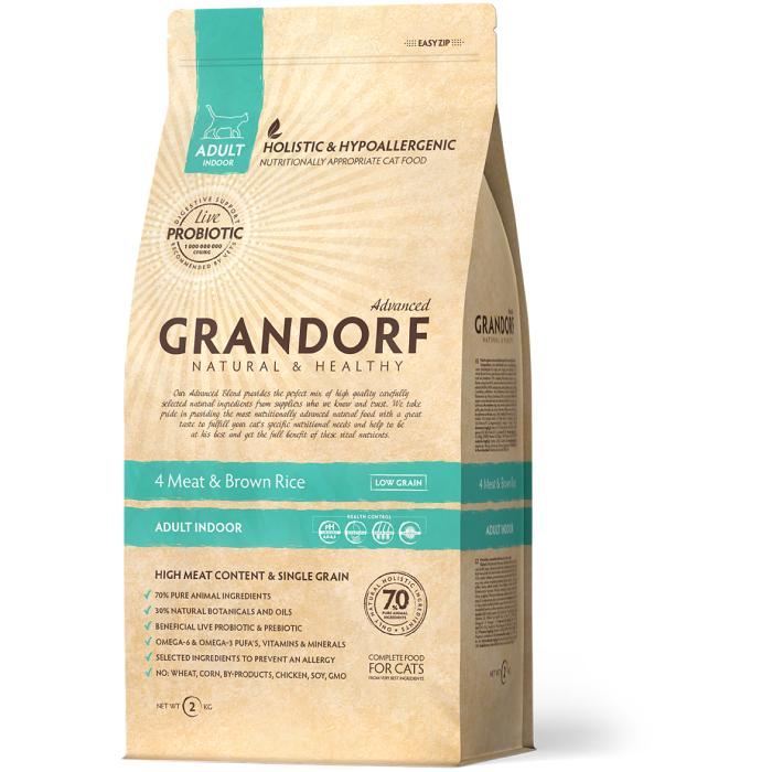 Фото - GRANDORF INDOOR 4 ВИДА МЯСА с бурым рисом низкозерновой с живыми пробиотиками для домашних кошек