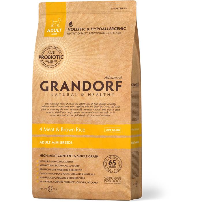Фото - GRANDORF 4 ВИДА МЯСА низкозерновой с живыми пробиотиками для собак мини пород