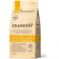 GRANDORF STERILIZED 4 ВИДА МЯСА с бурым рисом низкозерновой с живыми пробиотиками для стерилизованных кошек