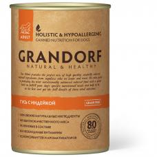 GRANDORF ГУСЬ С ИНДЕЙКОЙ беззерновые консервы для взрослых собак 400г