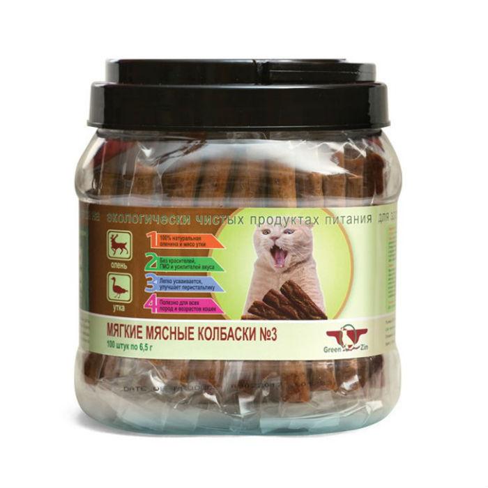 Фото - GREEN CUISINE ПОДВИЖНОСТЬ №3 Олень Утка мягкие мясные колбаски для кошек 6.5г