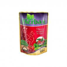 HERBAX Мясное ассорти в соусе с листьями брусники пауч 100г