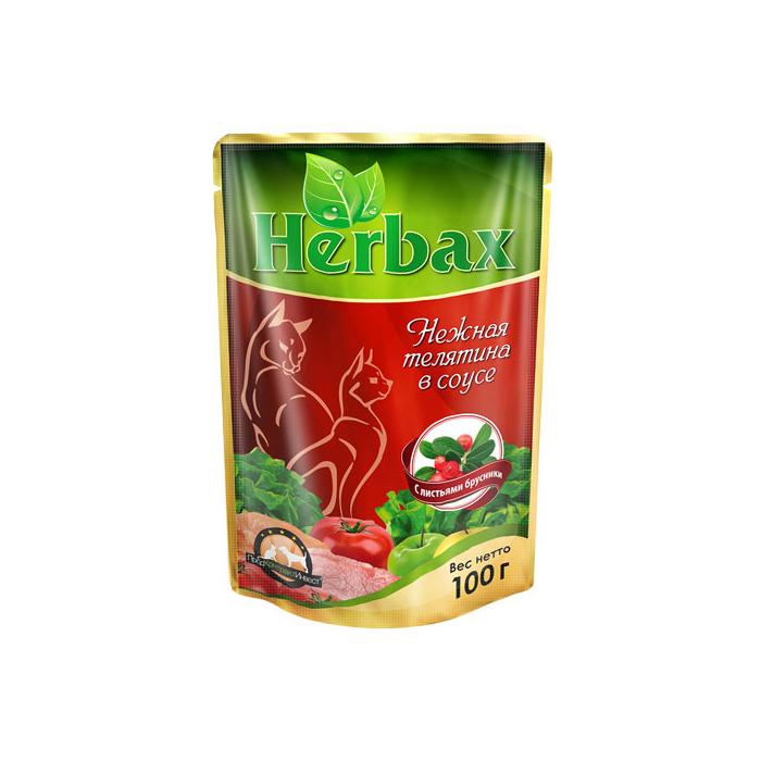 Фото - HERBAX Нежная телятина в соусе с листьями брусники для кошек пауч 100г