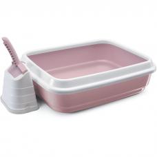Туалет-лоток для кошек IMAC DUO с совочком на подставке 59х40х28 см нежно-розовый