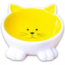 КЕРАМИКАРТ  МОРДОЧКА КОШКИ НА НОЖКАХ миска жёлтая 100мл