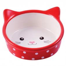 КЕРАМИКАРТ МОРДОЧКА КОШКИ миска керамическая для кошек 250 мл красная в горошек