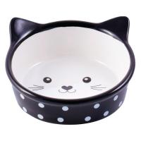 КЕРАМИКАРТ МОРДОЧКА КОШКИ миска керамическая для кошек 250 мл черная в горошек