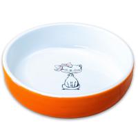 КЕРАМИКАРТ КОШКА С БАНТИКОМ миска керамическая для кошек оранжевая 370мл