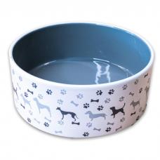 КЕРАМИКАРТ миска керамическая с рисунком для собак серая 350мл