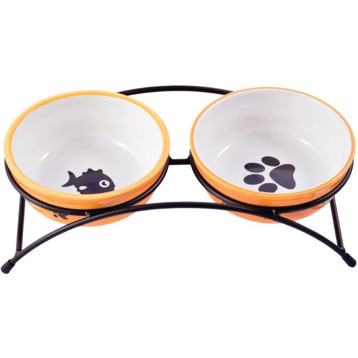 Фото - КЕРАМИКАРТ миски на подставке для собак и кошек двойные 2x290мл оранжевые
