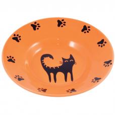 КЕРАМИКАРТ миска-блюдце керамическая для кошек 140мл оранжевая