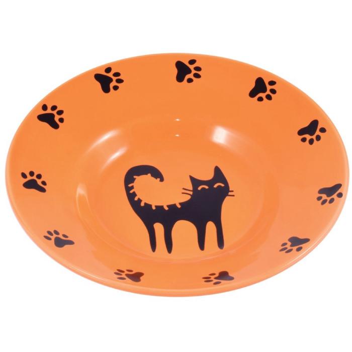 Фото - КЕРАМИКАРТ миска-блюдце керамическая для кошек 140мл оранжевая
