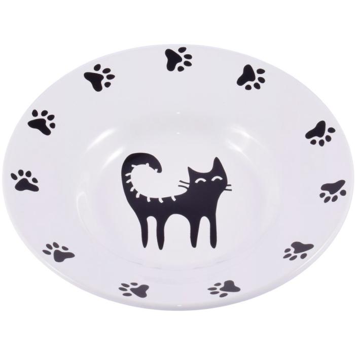 Фото - КЕРАМИКАРТ миска-блюдце керамическая для кошек 140мл белая