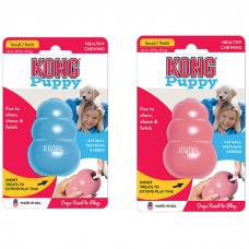 Игрушка для щенков KONG PUPPY S из натуральной резины особо прочная малая 7х4см голубая или розовая