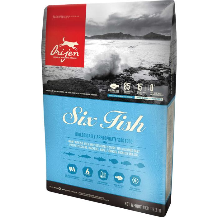 Фото - ORIJEN SIX FISH DOG 85.15 гипоаллергенный беззерновой с рыбой для собак и щенков всех пород