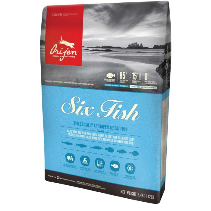 Фото - ORIJEN SIX FISH с лососем, сельдью, сайдой, камбалой, судаком и щукой гипоаллергенный для кошек