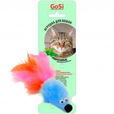 GOSI 07163 МЫШЬ С МЯТОЙ ГОЛУБОЙ МЕХ С ПЕРЬЕВЫМ ХВОСТОМ игрушка для кошек