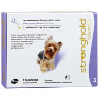 СТРОНГХОЛД капли от гельминтов, блох и клещей для собак от 2.5 до 5кг  1пипетка